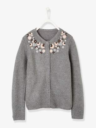 Vertbaudet Cardigan for Girls, Embroidered Flowers