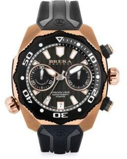 Brera Orologi Pro Diver Rose Goldtone Stainless Steel& Rubber Strap Watch