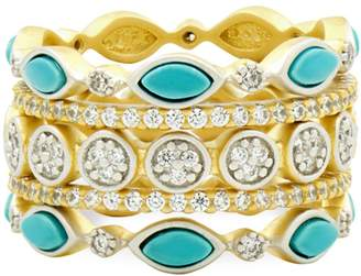 Freida Rothman Fleur Bloom Empire Sterling Silver, Turquoise Crystal Statement Stack Ring
