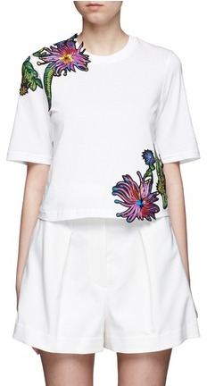 3.1 Phillip Lim 3.1 Phillip Lim Floral embroidered silk patch cutout T-shirt