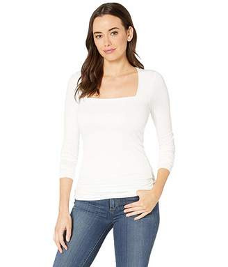 Three Dots Refined Jersey Long Sleeve Square Neck Top