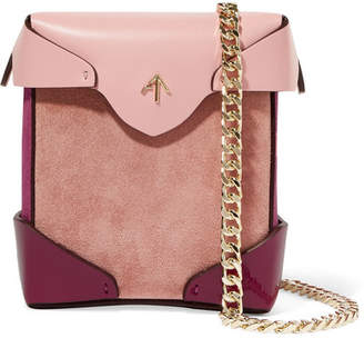 Atelier MANU Pristine Micro Color-block Leather, Patent-leather And Suede Shoulder Bag - Pink