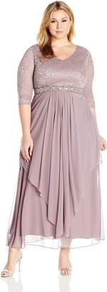 Alex Evenings Women's Plus Size Long V Neck Lace Top Dress