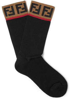 Fendi Logo-Intarsia Cotton-Blend Socks