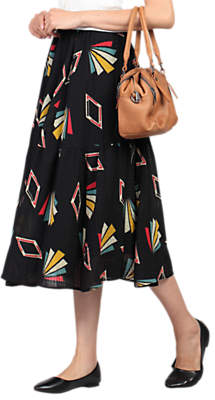 Jolie Moi Tiered Midi Skirt, Black Pattern