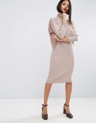 ASOS Turtleneck Midi Rib Slouch Dress $46 thestylecure.com