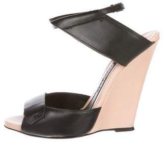 Narciso Rodriguez Leather Ankle-Strap Wedges
