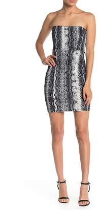 Jump Strapless Reptile Print Scuba Crepe Dress