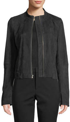 Vince Cropped Zip-Front Suede Moto Jacket