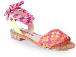 Sophia Webster Nia Woven Leather Ankle-Tie Sandals