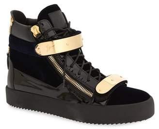 Giuseppe Zanotti Gold Bar High Top Sneaker