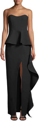 Cinq à Sept Claire Strapless High-Slit Peplum Gown w/ Ruffle Trim
