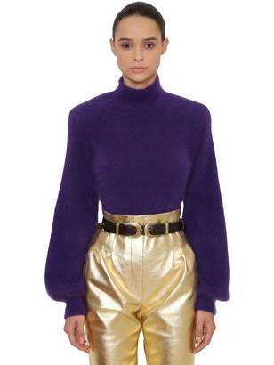 Alberta Ferretti Angora Blend Knit Turtleneck Sweater