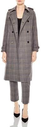 Sandro Roselier Plaid Trench Coat
