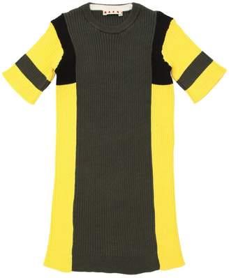 Two Tone Cotton Rib Knit Dress