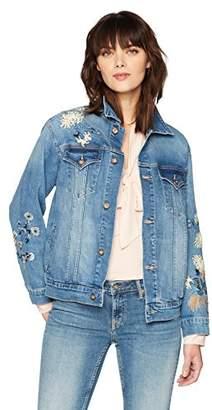 Denim Bloom Women's Deep Blue Color with Emb On BK Side Boyfriend Denim Jacket M