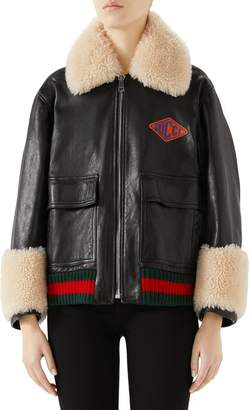 Gucci Genuine Shearling Trim Leather Bomber Jacket