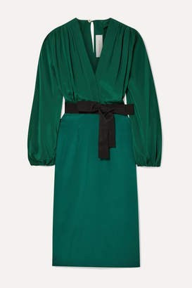 Silvia Tcherassi Deny Belted Silk Crepe De Chine And Silk-blend Dress - Forest green