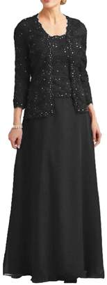 Dressyu Lace Mother of The Bride Dress with Jacket Beaded Long Vintage Chiffon Formal Gown US26W