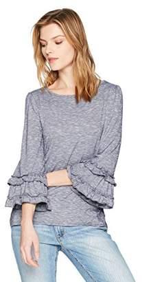 Max Studio Women's Long Ruffle Sleeve Knit Top