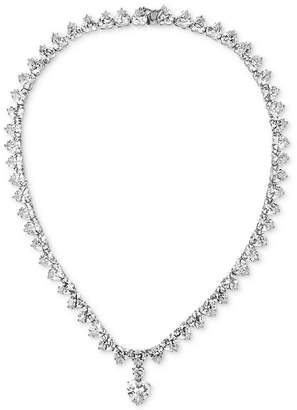 """Tiara Cubic Zirconia Heart 16-3/4"""" Statement Necklace in Sterling Silver"""