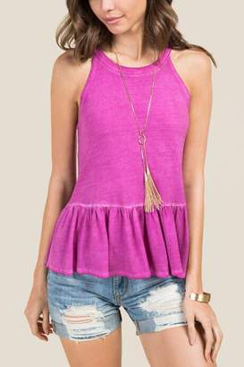 francesca's Danni Oil Wash Peplum Top - Fuchsia