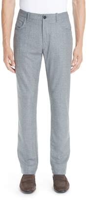 Canali Flat Front Flannel Wool Five-Pocket Trousers