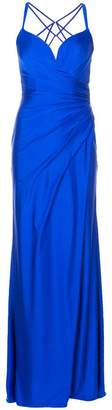 La Femme strappy draped evening gown