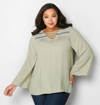Avenue Cage Embroidered Peasant Top