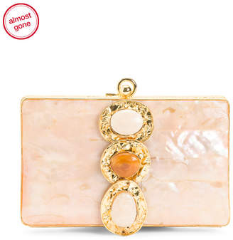 Boxed Handcrafted Mother Of Pearl Minaudiere
