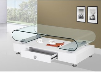 clear Best Quality Furniture Coffee Table with Top Round Shape Glass & Storage Drawer Multiple Colors