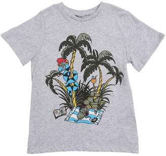 Stella McCartney Snake & Palm Print Cotton Jersey T-Shirt