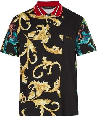 Versace Baroque-print cotton polo shirt