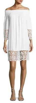 Lise Charmel Plage et Ville Off-the-Shoulder Lace-Trim Dress, White $253 thestylecure.com