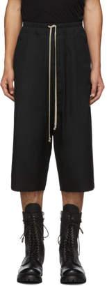 Rick Owens Black Drawstring Karloff Shorts