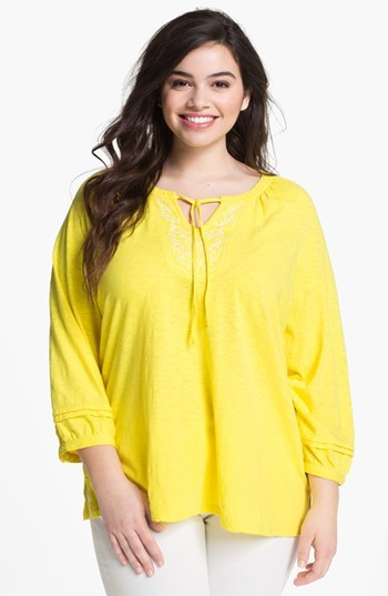 Sejour Embroidered Detail Cotton Tunic (Plus Size)