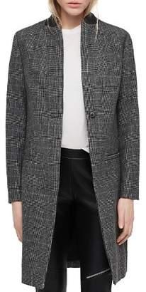 AllSaints Leni Leather-Collar Glen Plaid Coat