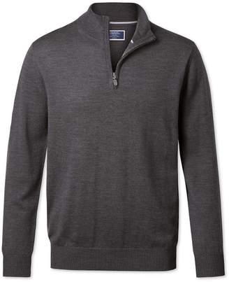 Charles Tyrwhitt Charcoal Merino Wool Zip Neck Sweater Size XS