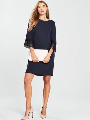 Wallis Lace Cuff Shift Dress - Ink