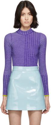 Emilio Pucci Purple Wool Ribbed Turtleneck