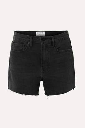 Frame Le Brigette Frayed Denim Shorts - Black