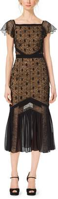 Michael Kors Pleated Chantilly Lace Dress