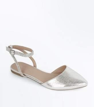 New Look Silver Metallic Diamanté Ankle Strap Pumps