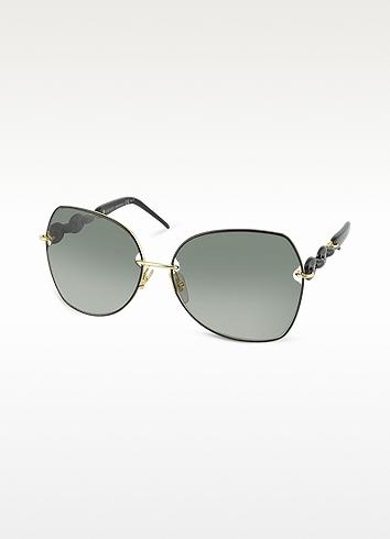 Gucci Marina Chain Oval Metal Sunglasses