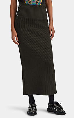 Sacai Women's Ring-Detailed Knit Pencil Skirt - Dk. Green