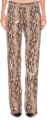 Faux-Leather Straight-Leg Python Pants