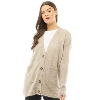 Brave Soul Womens Grandad Loose Fit Button Through Cardigan Lilac Mist