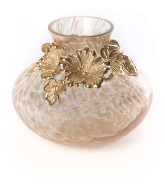 Jay Strongwater Leaf & Flower Gilded Vase