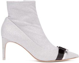 Sophia Webster Andie Bow Trim Glitter Boots - Womens - Silver