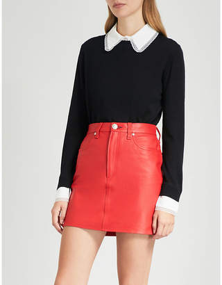 Claudie Pierlot Mandarine lace-trim wool-knit jumper